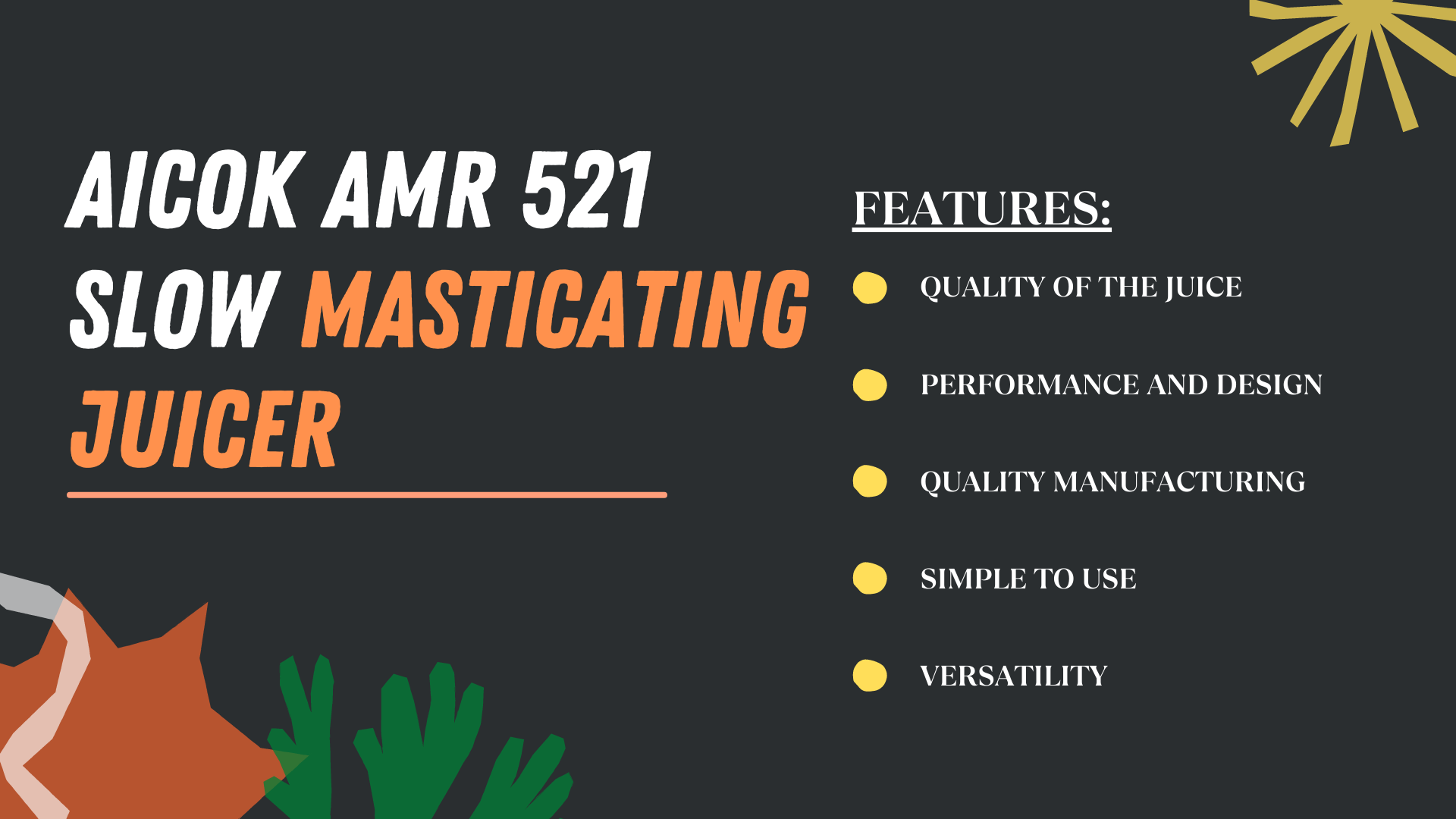 Aicok AMR 521 Slow Masticating Juicer