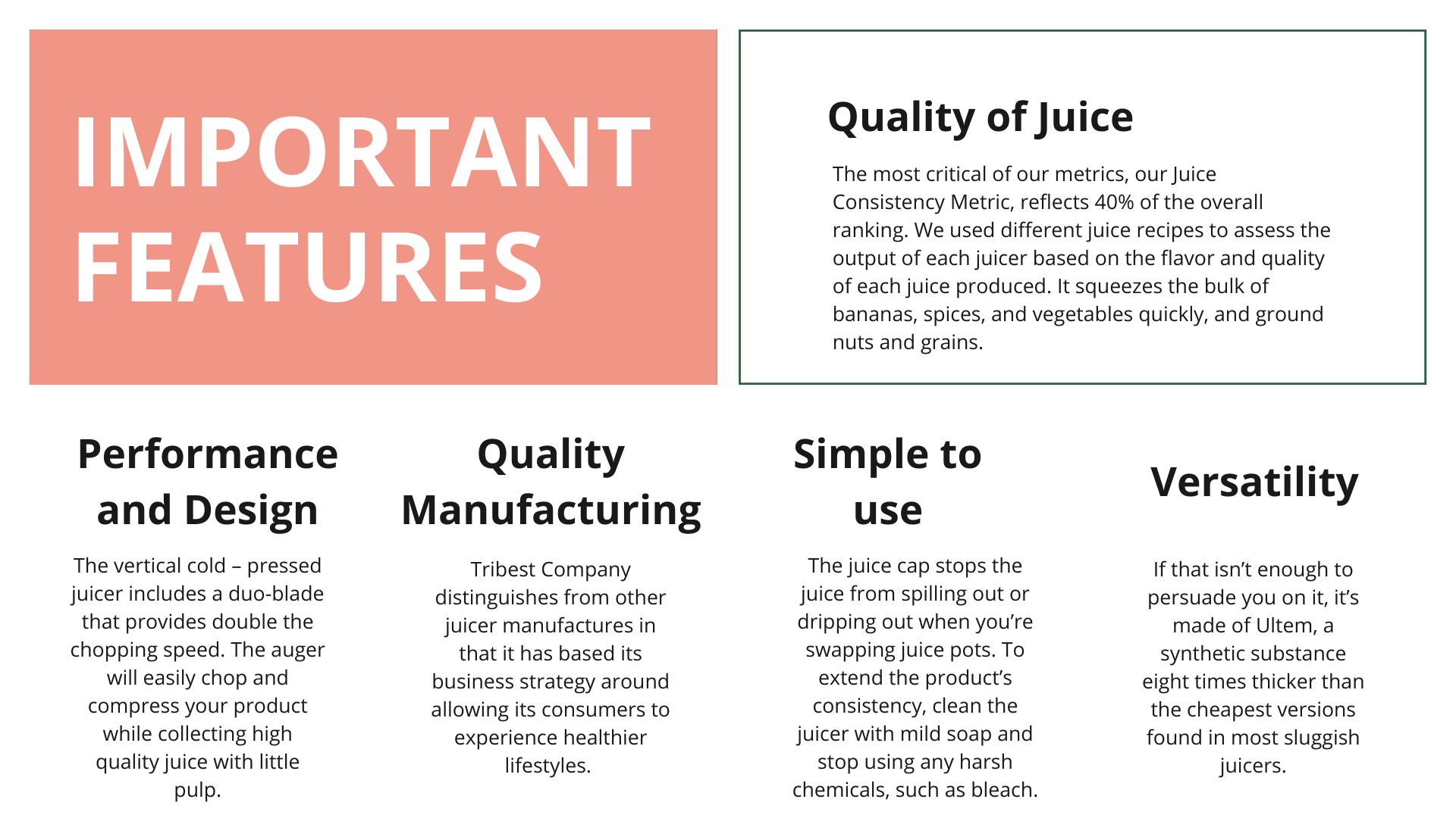 Important Features