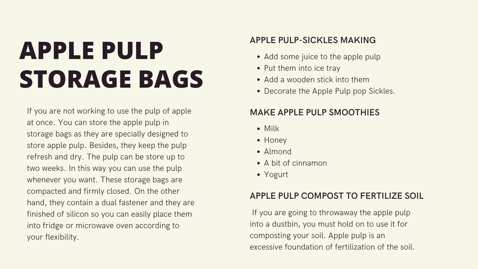 How to utilize the Apple Pulp Juice uniquely